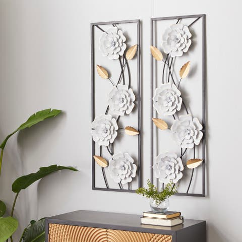 White Metal Contemporary Wall Decor (Set of 2) - 12 x 2 x 36