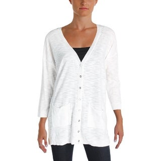 Two by Vince Camuto Womens Cardigan Sweater Sheer Knit Button Front