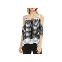 Vince Camuto Womens Sahara Blouse Printed Cold Shoulder