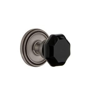 "Grandeur SOLLYO_PRV_234  Soleil Solid Brass Rose Privacy Door Knob Set with Lyon Black Crystal Knob and 2-3/4"" Backset"