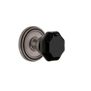 "Grandeur SOLLYO_PRV_238  Soleil Solid Brass Rose Privacy Door Knob Set with Lyon Black Crystal Knob and 2-3/8"" Backset"