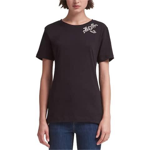Dkny Womens Rhinestone Embellished T-Shirt