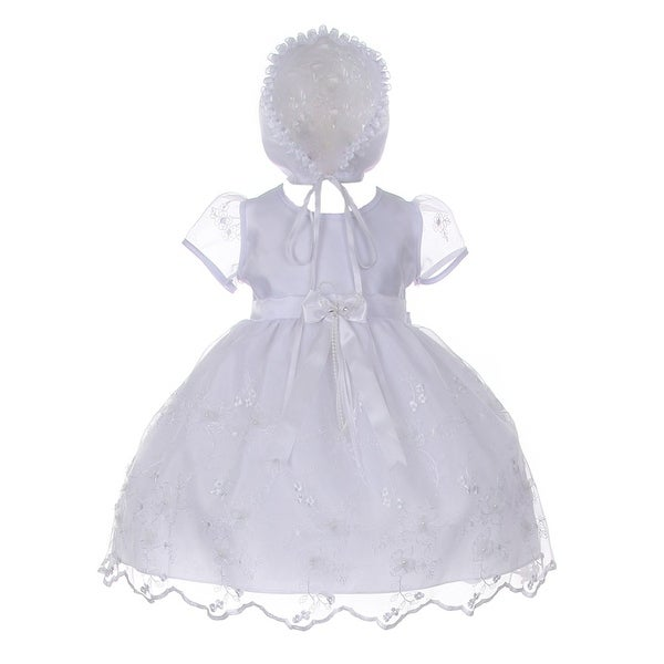 62104a1cb7c Cinderella Couture Baby Girls White Sequin 3D Flower Bonnet Baptism Dress