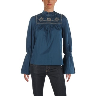 Free People Womens Pullover Top Woven Crochet Trim