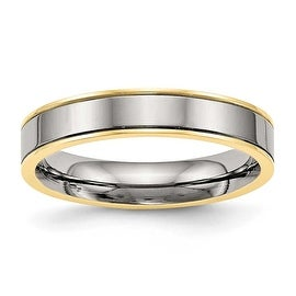 Titanium Polished Yellow IP Grooved Comfort Back Ring (5 mm)
