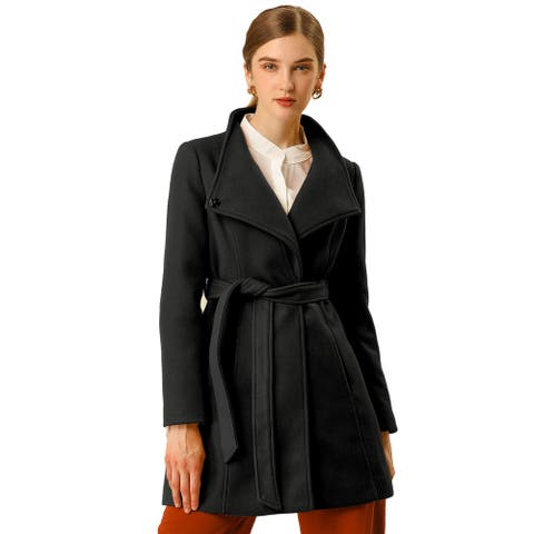 Women's Stand Collar Winter Belted Long Coat