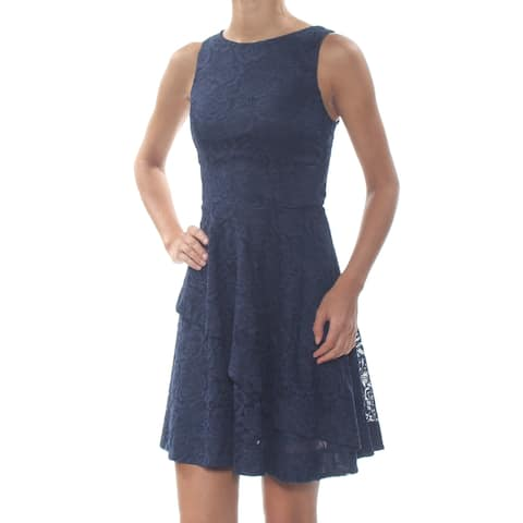 SPEECHLESS Womens Navy Lace Tiered Sleeveless Above The Knee Cocktail Dress Juniors Size: 1