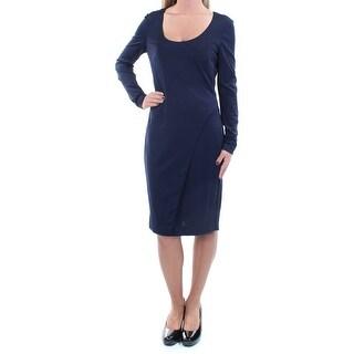 Womens Navy Long Sleeve Knee Length Wear To Work Dress Size: 2