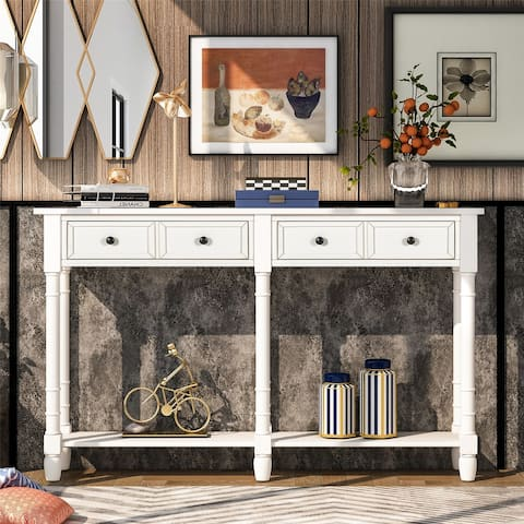 Console Table Easy Assembly with Two Storage Drawers and Bottom Shelf