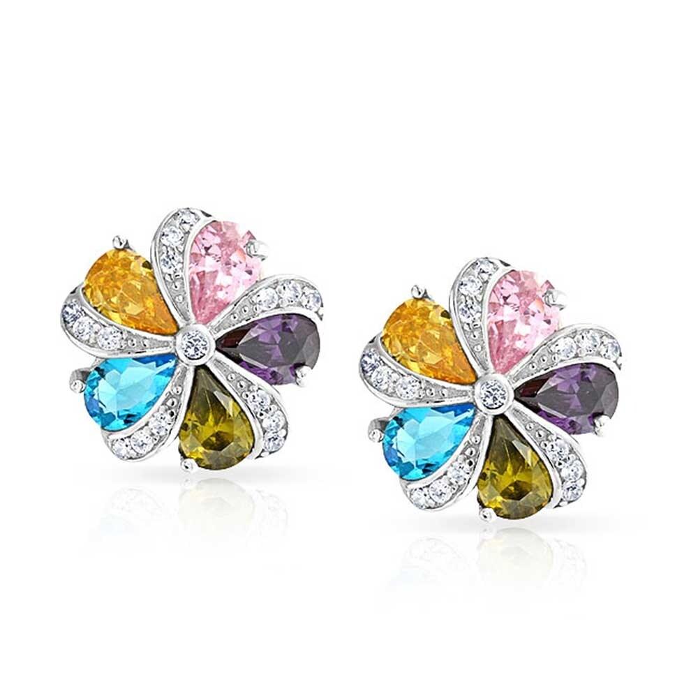 Sterling Silver Purple CZ Flower Post Earrings
