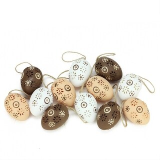"Set of 12 Natural Tone Floral Cut-Out Spring Easter Egg Ornaments 2.25"" - N/A"