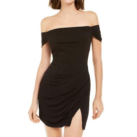 Emerald Sundae Womens Off Shoulder Black Size XXS Jersey Sheath Dress