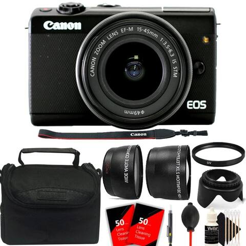 Canon EOS M100 Mirrorless Digital Camera with 15-45mm Lens (Black) + Great Bundle