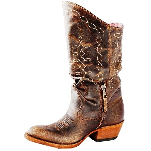 Macie Bean Western Boots Womens Edgy Like Johnny Slouchy Brown