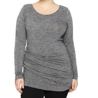 RACHEL By RACHEL ROY Heather Gray Womens Size 2X Plus Ruched Blouse