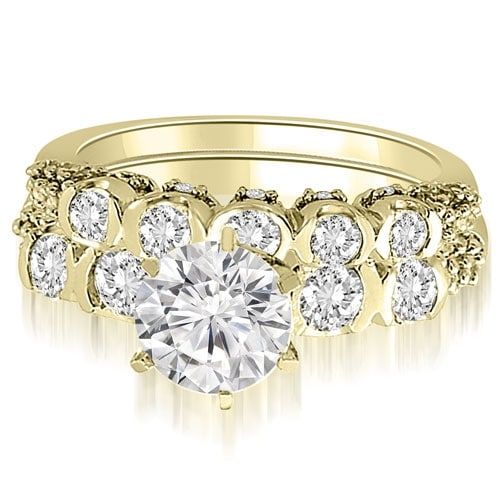 1.98 cttw. 14K Yellow Gold Round Cut Diamond Bridal Set