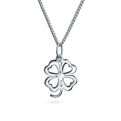 Leaf Clover Heart Flower Shamrock Pendant 925 Sterling Silver Necklace