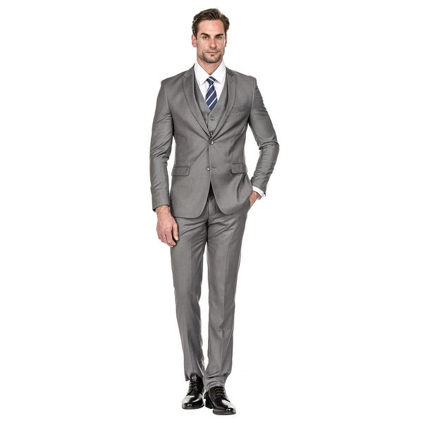Vince Camuto Mens Slim Fit Charcoal 2 Piece Suit