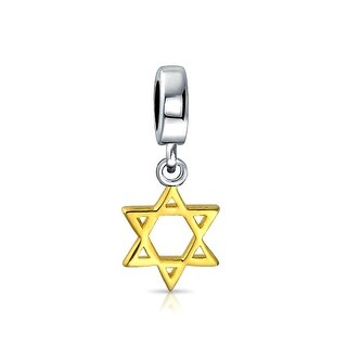 gold plated Star of David Dangle Charm Bead .925 Sterling Silver