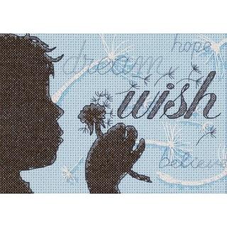 "Wish Mini Counted Cross Stitch Kit-7""X5"" 14 Count"