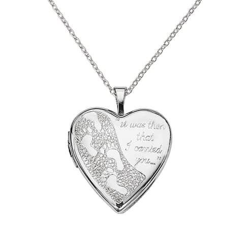 Sterling Silver Rhodium-plated 20mm Footprints Heart Locket with 18-Inch Cable Chain By Versil