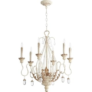 """Quorum International 6344-6 Venice 6 Light 25"""" Wide Single Tier Chandelier with Crystal Accents"""
