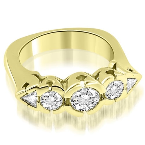 1.50 cttw. 14K Yellow Gold Round and Trillion Cut Diamond Wedding Band