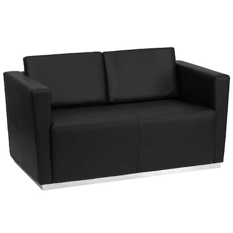 "Contemporary Black LeatherSoft Loveseat with Stainless Steel Recessed Base - 55.5""W x 32""D x 31""H"