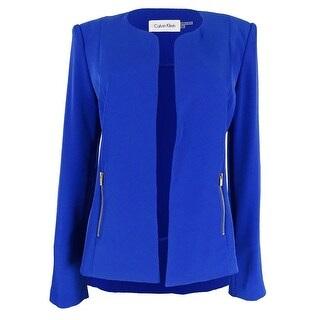 Calvin Klein Women's Solid Open Front Zip Pocket Blazer