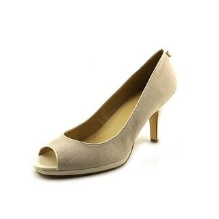 Calvin Klein Kail 2 Women Peep-Toe Canvas Ivory Heels