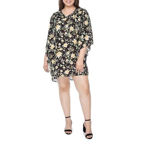 Bobeau Womens Plus Morna Mini Dress Floral Angel Sleeves
