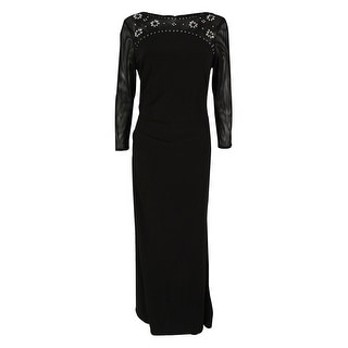 Jessica Howard Women's 3/4 Sleeves Embellished Gown (8, Black) - 8