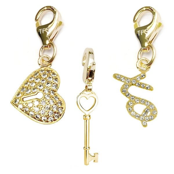 Julieta Jewelry Key To My Heart, Heart Lock, XO 14k Gold Over Sterling Silver Clip-On Charm Set