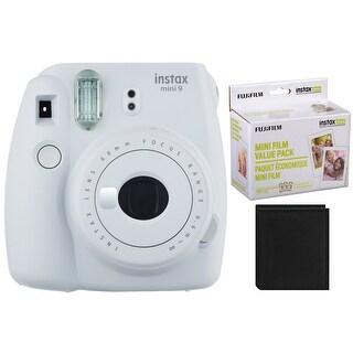 Fujifilm Instax Mini 9 Instant Camera (Smokey White) with 60 Film Pack and Album