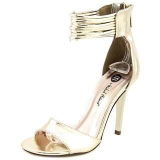 Michael Antonio Chelsi Women Open-Toe Synthetic Gold Heels