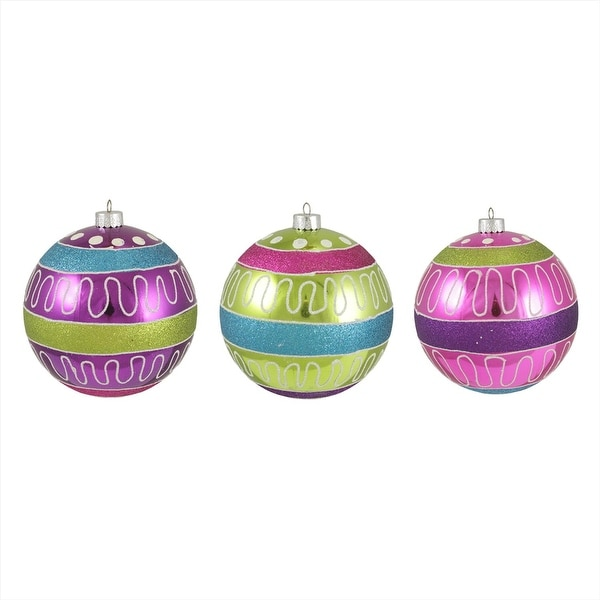 """3ct Colorful Swirl and Stripe Shatterproof Christmas Ball Ornaments 4.75"""" 120mm"""