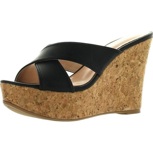 De Blossom Womens Christy-19 Strappy Bridesmaid Prom Party Sandal Pumps Shoes - Black pu
