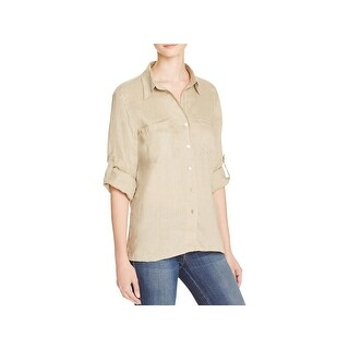 Just Living Womens Button-Down Top Linen Adjustable