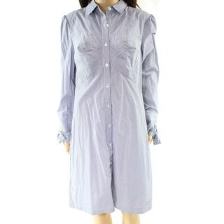 ECI Blue Womens Size 4 Striped Button-Front Tie-Cuff Shirt Dress