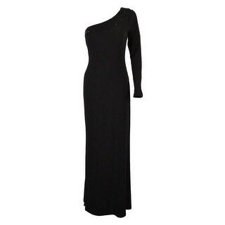 Calvin Klein Women's Sequined One Shoulder Gown - Black