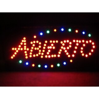 2xhome Abierto Multi-Color LED Sign with Animation Effects & Motion Flashing Capabilities
