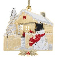 """3.25"""" Red and White 24K Gold Snowman Christmas Log Cabin Ornament"""