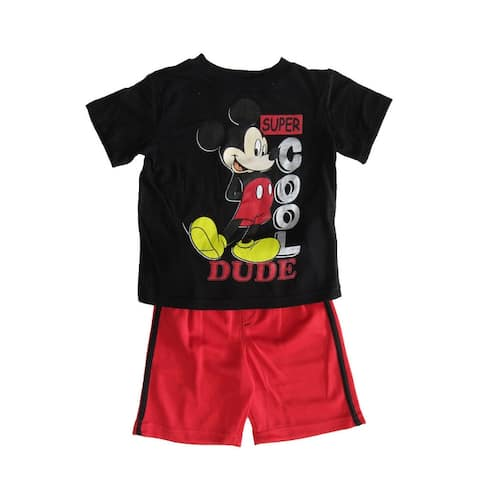 Disney Black Red Mickey Mouse Short Sleeve Outfit Little Boys