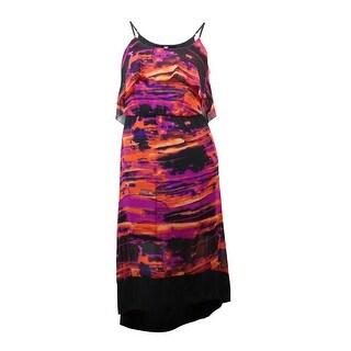 Kensie Women's Printed Pop Over Chiffon Hi-Low Dress - l