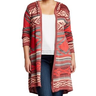 Ceny NEW Pink Tribal Knit Womens Size 1X Plus Open Cardigan Sweater