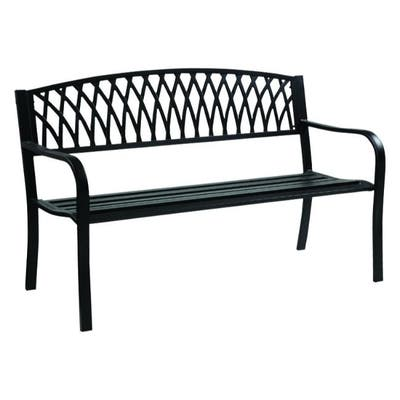 Living Accents Grass Back Park Bench Cast Iron 33.46 in. H x 50 in. L x 23.62 in. D