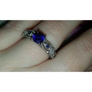Miadora 10k White Gold Created Blue Sapphire 1/10ct TDW Diamond Vintage Bridal Set