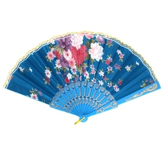 Chinese Style Plastic Ribs Fabric Flower Print Folding Hand Fan Blue