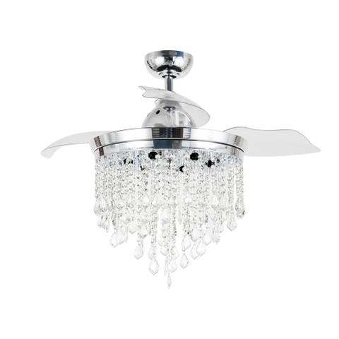 Chrome 3-Blade 42-inch Crystal Chandelier Ceiling Fan