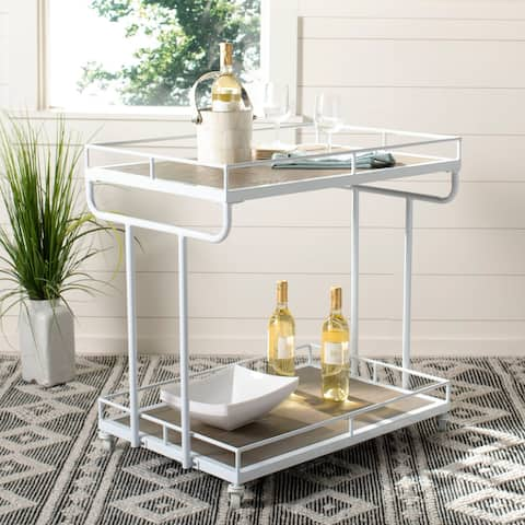 "Safavieh Dawson 2 Tier Rect Bar Cart-Rustic Oak / White - 32"" x 21"" x 32"""